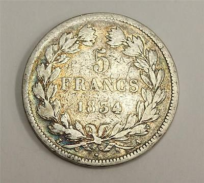 1834 A France 5 Franc Silver Coin in Fine condition F12