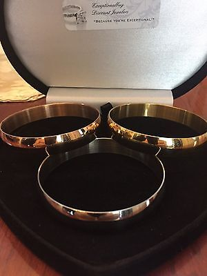 Big  14K & Sts Rose Gold Yellow Gold Cuff Bangle Bracelet Set Of 3 Sz 7 In