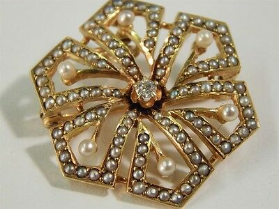 ANTIQUE VICTORIAN 14k YELLOW GOLD, DIAMOND AND PEARL BROOCH