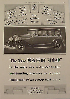 1929 NASH 400 Outstanding Features at No Extra Cost Ad