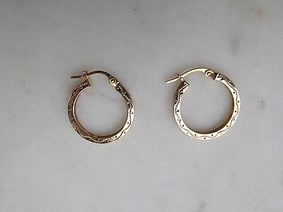 9ct yellow gold engraved Hoop Earrings gorgeous Christmas gift idea 375 9k