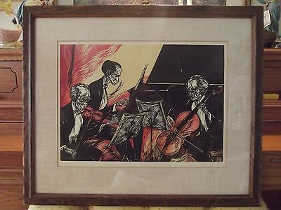 """Vintage MERVIN JULES Woodcut Block Print """"TRIO"""" Limited Edition Signed& Numbered"""