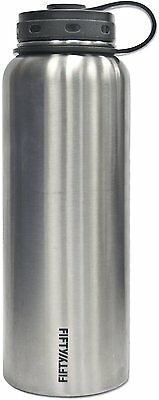 Vacuum-Insulated Stainless Steel Bottle with Wide Mouth, 40 oz Stainless Silver