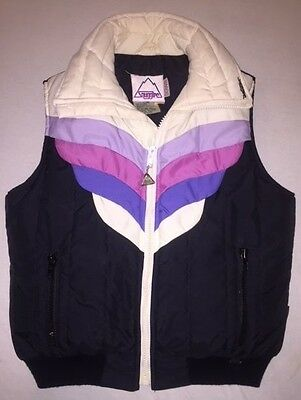 Vintage 80s Womens Down Snuggler Ski Puffer Vest Black Purple Pink White Sz M
