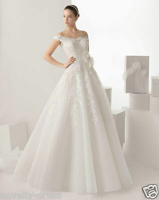 New Lace white/ivory wedding dress Bridal Gown custom size 2-4-6-8-10-12-14-16 +
