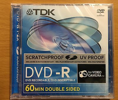 2 Discs TDK ScratchProof 8cm 2.8GB 2x DVD-R 60Min Double Sided for Camcorders