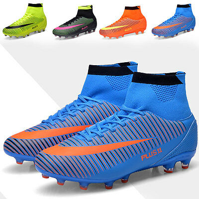 Men's Outdoor Soccer Cleats Shoes Firm Ground High Top Football Boots Trainers