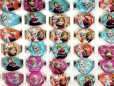 20Pcs Wholesale 3 Mixed Style Cartoon Girls Princess Children Resin Lucite Rings
