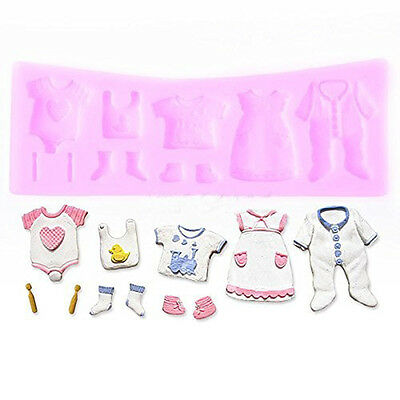 3D Baby Clothes Shower Silicone Mould Fondant Kitchen Cake Chocolate Baking Tool
