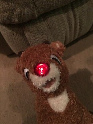 "Build A Bear Rudolph the Red Nosed Reindeer Plush15""Nose Lights up and He Speaks"