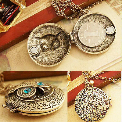 Women's Retro Style Sweater Necklace Round Locket Pendant of Owl With Blue Eyes