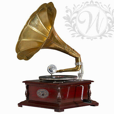 Retro Gramophone Period Phonograph Vintage Music Record Player Gold Antique
