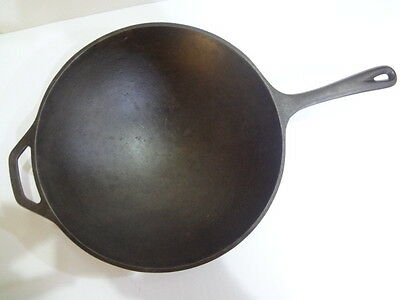 Vintage Used Cast Iron Metal Lodge Wok Skillet Camping Pot Kitchen Cookware Old