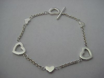 "Authentic Tiffany & Co. Heart Lariat Toggle Bracelet - 7"" - JUST POLISHED"