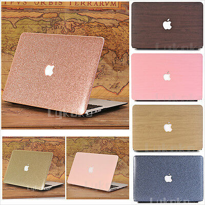 """Luxury Leather Coated Glitter Bling/Wooden Matte Case for MacBook Pro 13"""" Retina"""