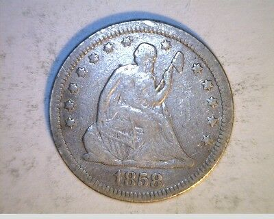 1858 US Seated Liberty Quarter,  Circulated .900 Silver (US-6342)