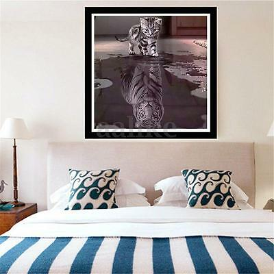 Large Mosaic Diamond Embroidery Painting Cat And Tiger Cross Stitch Home Decor