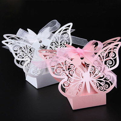 50pcs Laser cut Butterfly Wedding box candy gift box   Party supplies decoration