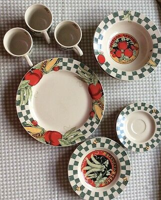 Lot of Tienshan Stoneware  Design - Fields Seeds Ladybug accents 12 pieces total