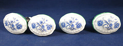 SET OF 4 WHITE and BLUE FLORAL PORCELAIN OVAL KNOBS Raised Trim & Green Edges