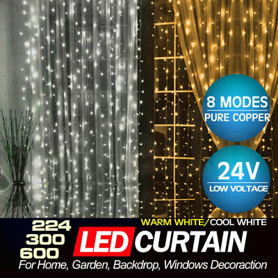 300/800 Led Curtain Fairy Lights Wedding Indoor Outdoor Christmas Garden Party