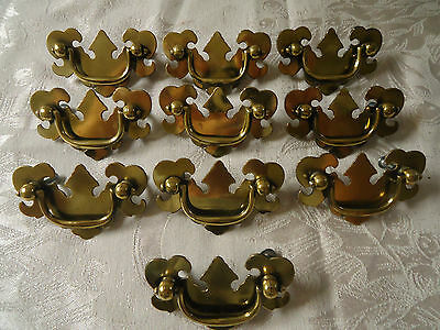 30 PC Vintage BRASS Chippendate Style HEAVY Drawer Pulls MUST SEE