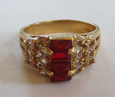 18K GOLD EP electroplate ring RUBY RED cluster 6.5 7 estate jewelry VGUC