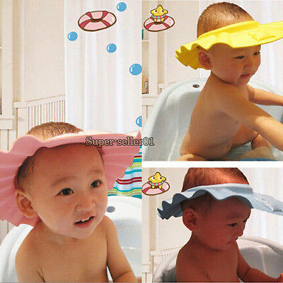Baby Kid Children Safe Shampoo Bath Bathing Shower Cap Adjustable Hat Wash Hair