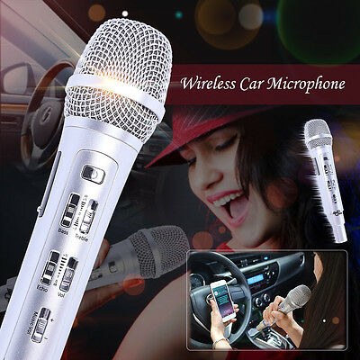 Wireless Car Karaoke KTV Microphone Bluetooth FM For iphone Android IOS Silver
