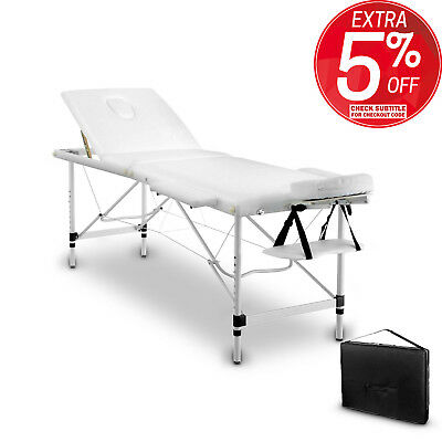 Portable Aluminium 3 Fold Massage Table Bed Chair Body Therapy Waxing 70cm White