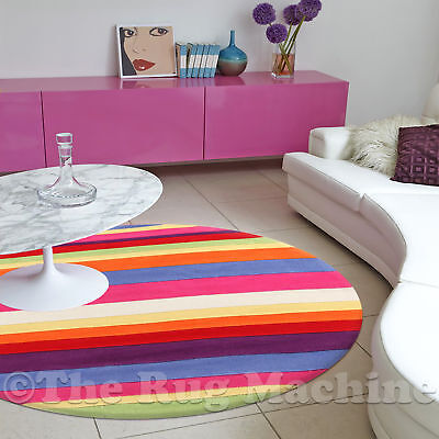 DIZZY KIDS SUGAR STRIPES THICK ACRYLIC FUN FLOOR RUG 120x120cm Round **NEW**