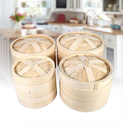 "7"" 8.7"" 9"" 10"" Bamboo Steamer Dim Sum Vegetables Fish Basket Rice Cooker 2 Tiers"