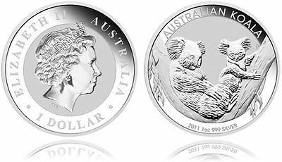 1 x 1 oz 2011 .999 fine silver Perth Mint KOALA bullion - Hard to find