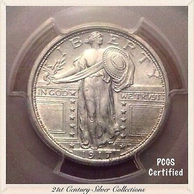 1917 Variety 1 Standing Liberty 25c Quarter Full Head PCGS Certified AU58FH