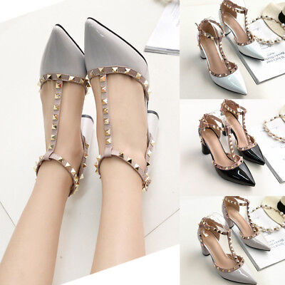 New Womens High Heel Shoes Pointed Ankle Strap Rivet Court Evening Party Sandals
