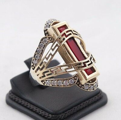 Excellent!  Turkish Handmade Ruby Sterling Silver 925K Ring Size 8