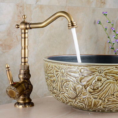 Antique Brass Bathroom Basin Faucet Flower Art Carved Vessel Sink Mixer Tap Deck