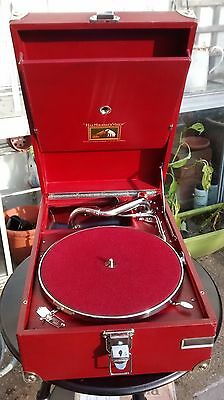 Hmv Deluxe Red 101 Portable Gramophone C 1926 Fully Serviced And Restored