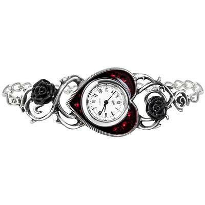 Alchemy Gothic Wrist Watch Bed Of Blood Roses Red Heart Black Bracelet +Gift Box