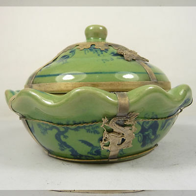 old china handwork superb porcelain collectible bowl armored dragon