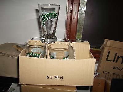 6 NEW Original Perrier Water Drinking Glasses French Tumblers Retro