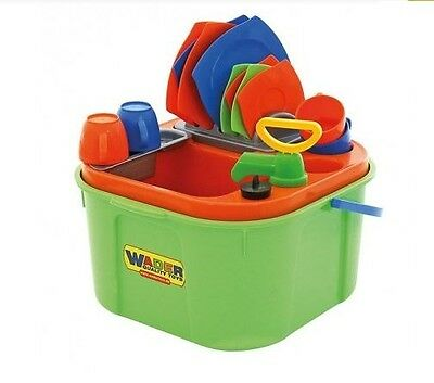 Brand New Wader Wash Up Set Pretend Play Kitchen Role Play Sink Plates Cups