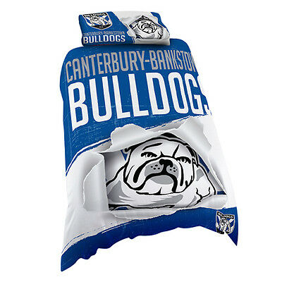 Canterbury Bulldogs NRL SINGLE Bed Quilt Doona Duvet Cover Set *NEW 2017* GIFT
