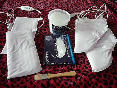 Hot wax bootees and mittens + bags + wax pellets + application brush.