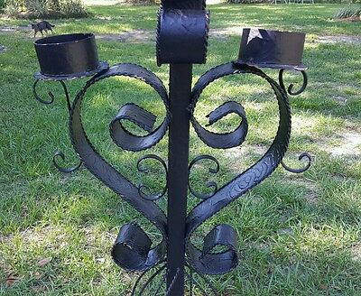 Vintage Wrought Iron Gothic SPANISH BAROQUE Candle Stand Floor Candelabra
