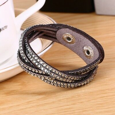 LOVELY LEATHER Slake BRACELET MADE WITH SWAROVSKI CRYSTALS - GREY WOVEN