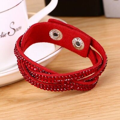 LOVELY LEATHER Slake BRACELET MADE WITH SWAROVSKI CRYSTALS - RED WOVEN