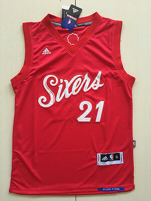 2016-17 Philadelphia 76ers #21 Joel Embiid Christmas Red Basketball Jersey