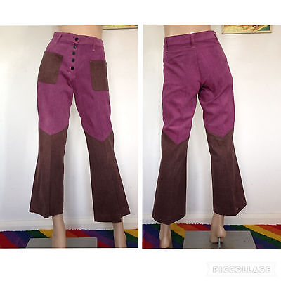 Vintage 60s 70s Flares High Waisted Bell Bottoms Jeans Trousers Hippie Boho 90s