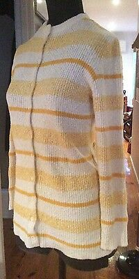 Genuine VINTAGE 1960s Yellow & Cream Striped KNIT CARDIGAN Size 14  Large